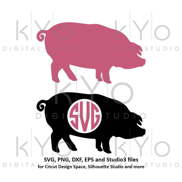 Pig SVG Pig Monogram SVG PNG dxf Studio3 cut files Farm animal svg Pork svg Farm life svg Pig Silhouette svg Farm monogram svg Farmer svg-kYoDigitalStudio
