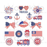 4th of July SVG Bundle American Flag pattern Bow Anchor Glasses Fireworks Merica Star svg Independence Day SVG files for Cricut Silhouette-kYoDigitalStudio