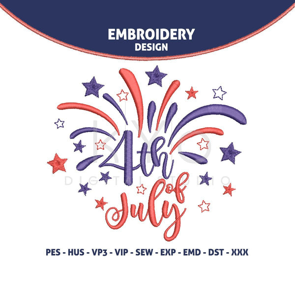 4th of July Independence Day Embroidery design Fireworks embroidery design HUS vip SEW dst VP3 exp PES design machine embroidery designs-kYoDigitalStudio