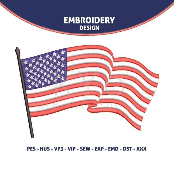 US American flag Embroidery design 4th of July Independence day embroidery design hus vip SEW dst VP3 exp PES files machine embroidery-kYoDigitalStudio