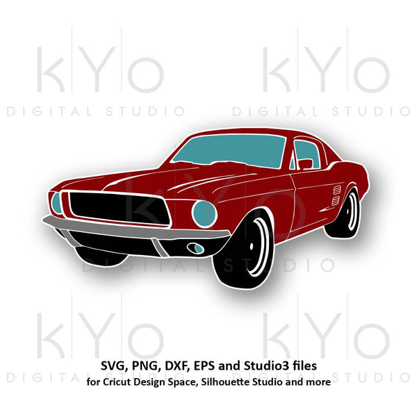 Classic Ford Mustang car silhouette illustration svg png eps files-kYoDigitalStudio