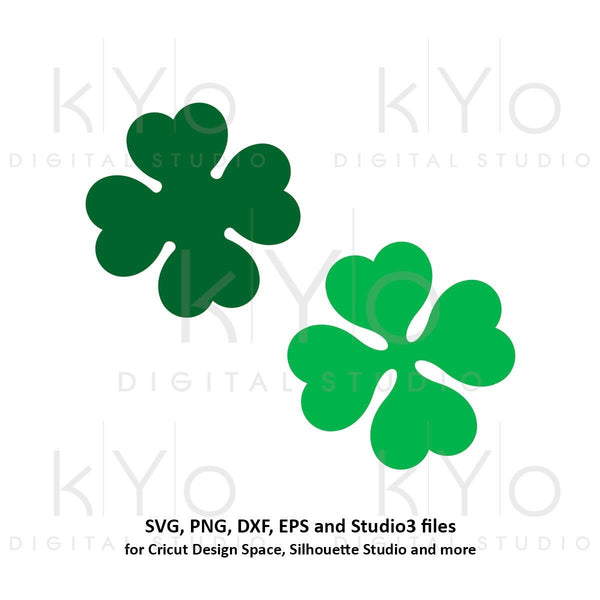 St Patricks Day 4 leaf clover svg, 4 leaf shamrock svg, 4 leaf svg cut cuttable svg files for Cricut and Silhouette saint patricks day svg-kYoDigitalStudio