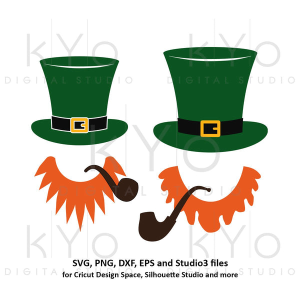 St Patricks Day Leprechaun Hat Beard svg, Leprechaun svg, Leprechaun svg png dxf svg files for Cricut and Silhouette beard and hat svg-kYoDigitalStudio