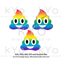 Rainbow Poop Emoji SVG files for Cricut Silhouette Unicorn svg Rainbow svg Unicorn Poop svg Poop emoji clipart-kYoDigitalStudio