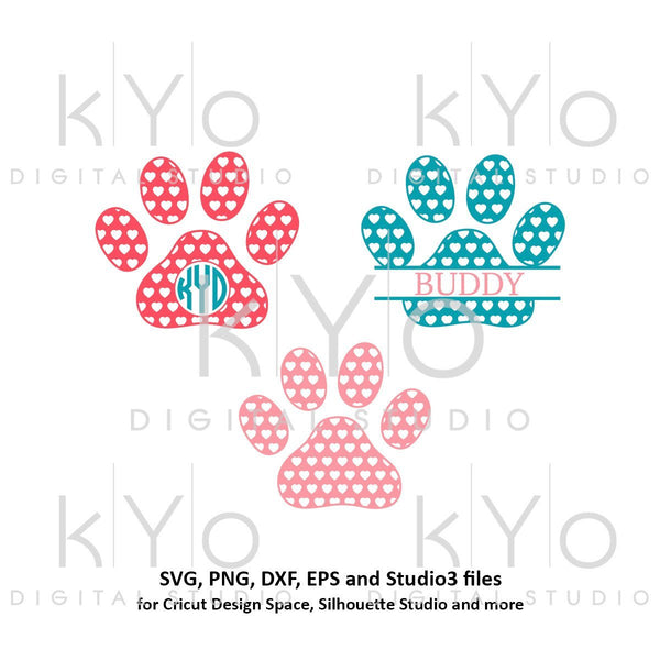 Paw svg Heart pattern Paw monogram svg Dog paws svg Animal svg Patterned paw svg Paw patrol svg png dxf studio3 pattern svg-kYoDigitalStudio