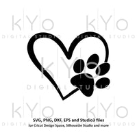 Paw svg Paw in Heart svg Dog Cat Love Pet paw svg Heart with paw print svg Pet love svg Paw patrol svg files for cricut silhouette-kYoDigitalStudio