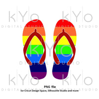 Rainbow flip flop clipart png printable summer cut files Beach clipart Commercial use clipart-kYoDigitalStudio