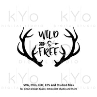 Wild and Free svg Deer Antler svg Hunting svg Hand Lettered svg Printable wall art Printable quotes svg files for Cricut Silhouette-kYoDigitalStudio