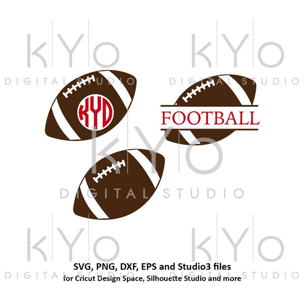 American Football svg Split Monogram svg Football monogram svg Football Love svg Football Mom svg files for Cricut Silhouette football dxf-kYoDigitalStudio