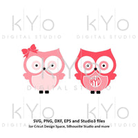Owl svg Cute Owl monogram svg Owl bow svg Cute Owl svg Owl Monogram Frames svg Girl owl svg files for Cricut Silhouette files Owl Clipart-kYoDigitalStudio