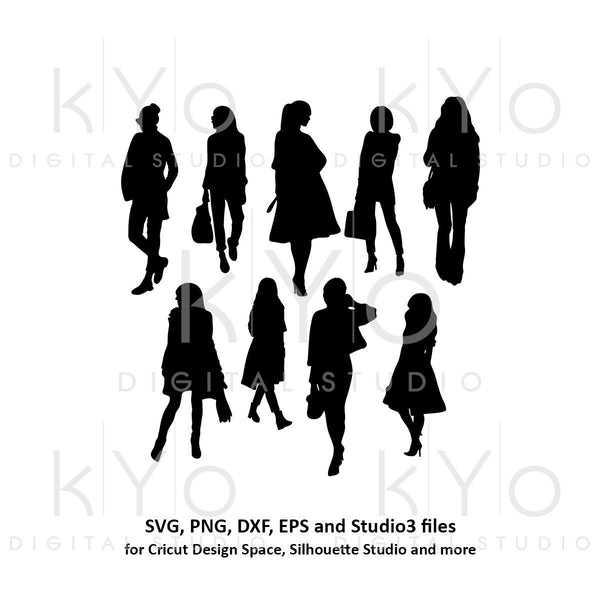 Fashion Lady silhouette vector images bundle svg png dxf eps files-kYoDigitalStudio