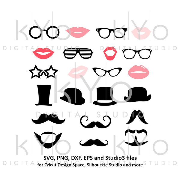 Photo Booth Props Party Moustache Glasses Lips svg pnf dxf files-kYoDigitalStudio