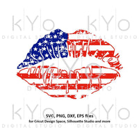 Distressed American Girl Lips svg 4th Fourth of July US Flag pattern Stars and Stripes svg png dxf files for Cricut Silhouette Independence-kYoDigitalStudio