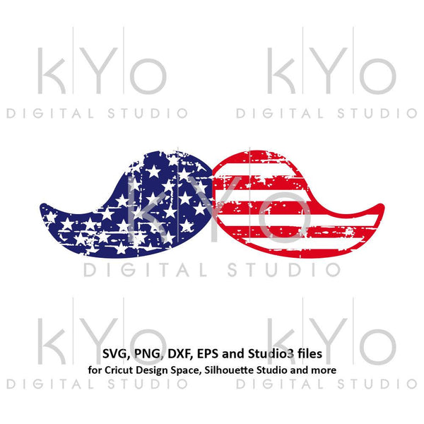 4th of July Distressed Mustache svg png cut or print files-kYoDigitalStudio