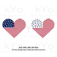 4th of July Heart svg American US flag svg American heart SVG Stars and stripes svg Fourth of july svg files for Cricut Silhouette-kYoDigitalStudio