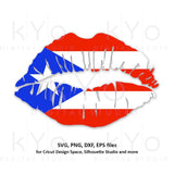 Puerto Rico Flag Lips svg png dxf cut files-kYoDigitalStudio