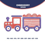 4th of July Independence Day Train Embroidery design-kYoDigitalStudio