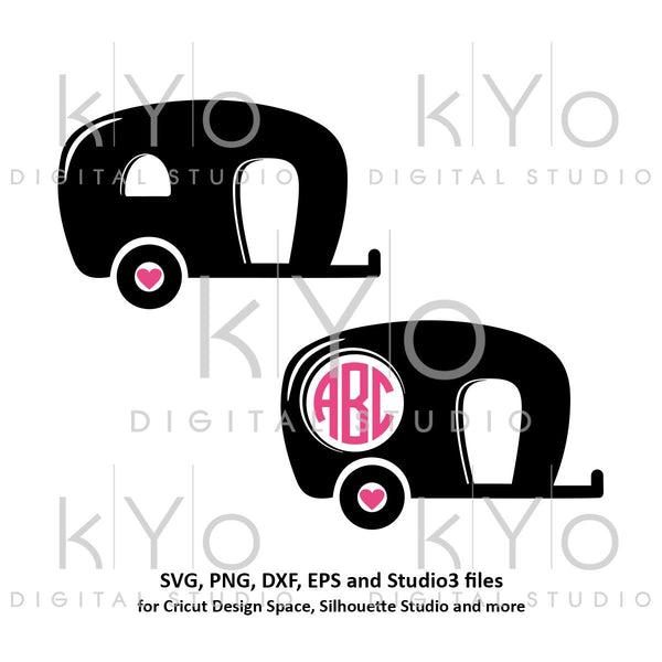 Old Camper Monogram frame SVG png dxf studio3 files Camping SVG Monogram svg iron on design Commercial use svg files for Cricut-kYoDigitalStudio