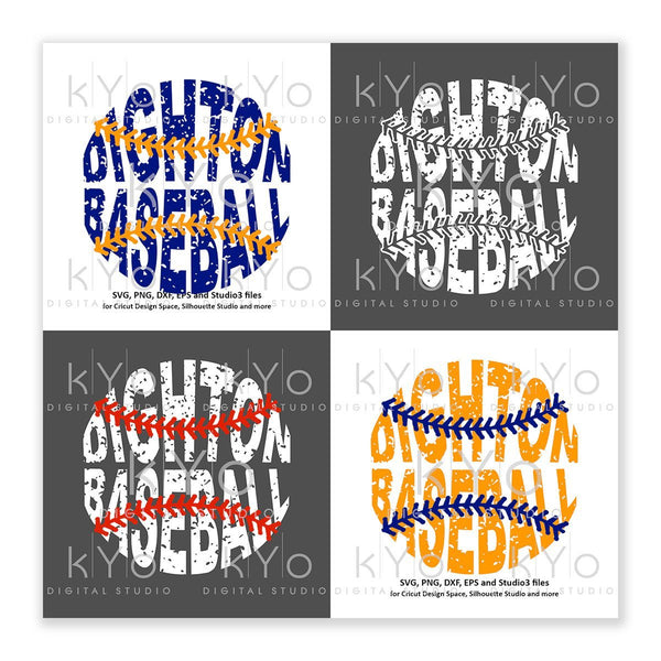 Dighton Baseball Distressed printable png files for Cricut and Silhouette-kYoDigitalStudio