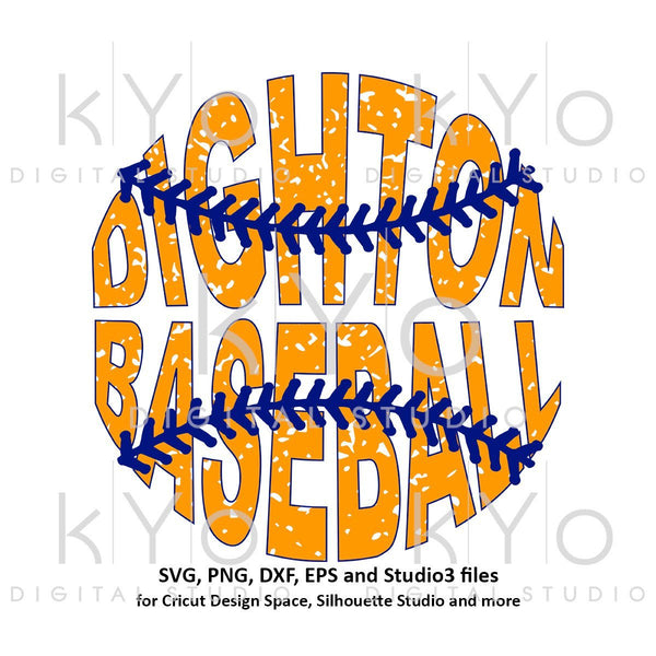 Dighton Baseball Distressed design with outline printable png file-kYoDigitalStudio