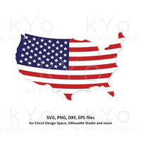 USA map svg 4th of July svg American Flag shirt svg Shirt design svg Stars and stripes svg png dxf files for Cricut Silhouette dxf png files-kYoDigitalStudio