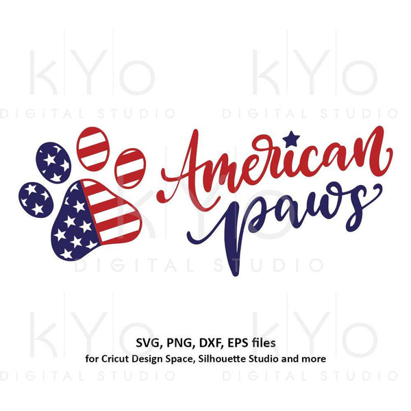 American flag svg Paw print svg 4th of July svg USA Flag svg shirt design svg Stars and stripes svg png dxf files for Cricut Silhouette-kYoDigitalStudio