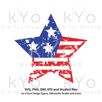 4th of July svg Distressed svg US flag svg Distressed American flag svg Independence Day svg Fourth of July SVG files for Cricut-kYoDigitalStudio