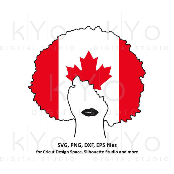 Afro hair svg Canada flag svg Afro woman girl lady t shirt design svg Black Woman svg Curly hair svg files for Cricut Silhouette cut files-kYoDigitalStudio