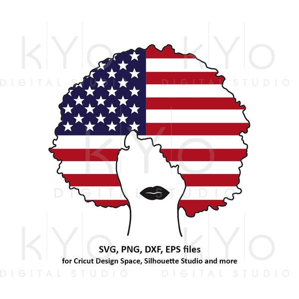 Afro hair svg US American flag svg Afro woman girl lady t shirt svg Black Woman svg Curly hair svg files for Cricut Silhouette cut files-kYoDigitalStudio