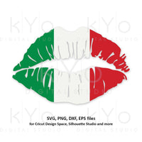 Italy flag Girl Lips svg Italian flag svg Italian shirt svg Patriotic svg files for Cricut Silhouette png Clipart Vector dxf Cutting file-kYoDigitalStudio