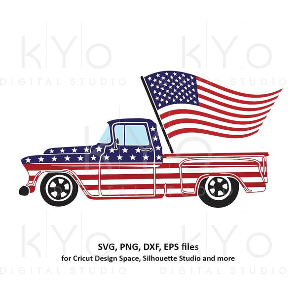 4th of July Truck svg American truck svg Fourth of July svg American flag svg Independence Day svg files for Cricut Silhouette US flag svg-kYoDigitalStudio
