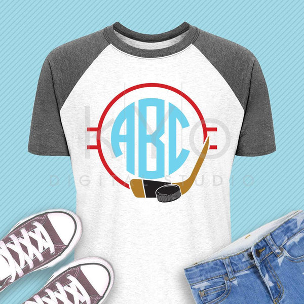 Ice Hockey monogram svg Hockey puck and stick svg Hockey mom svg Ice hockey svg Hockey player shirt svg files for Cricut Silhouette dxf file-kYoDigitalStudio