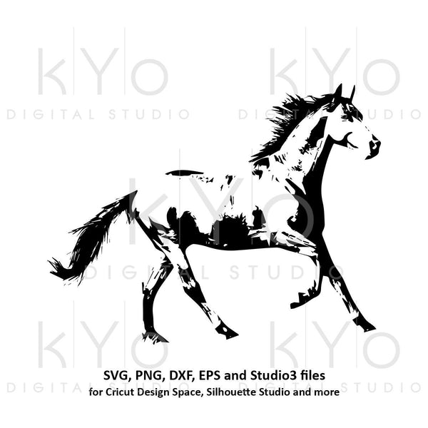 Horse Silhouette Equestrian SVG png dxf studio3 files for Cricut and Silhouette horse racing svg horse riding svg distressed horse shades-kYoDigitalStudio