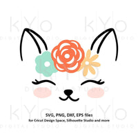 Cute Cat face with flower wreath svg png dxf files Cat svg Eye lashes svg Cat face svg Kids summer shirt svg files for Cricut Silhouette-kYoDigitalStudio