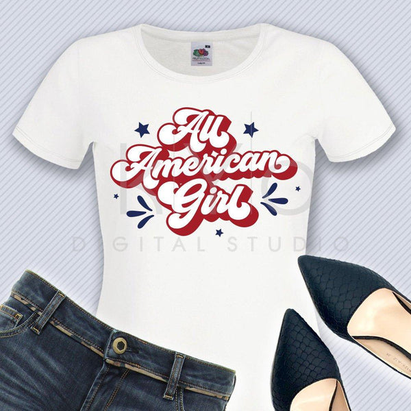 All American Girl svg 4th of July t shirt SVG American svg Stars and stripes svg files for Cricut Silhouette commercial use svg iron on svg-kYoDigitalStudio