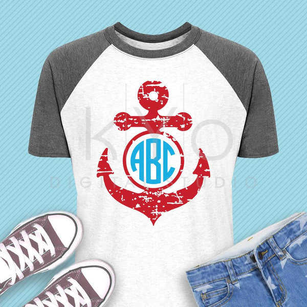 Distressed Anchor monogram svg Nautical svg Navy svg Distressed svg Summer kids shirt svg dxf png eps files for Cricut and Silhouette-kYoDigitalStudio