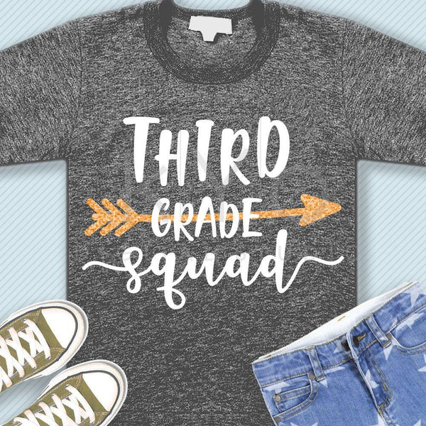 Third grade squad svg png dxf eps files 3rd grade shirt svg Back to school svg Squad shirt svg for Cricut Design space Silhouette cut files-kYoDigitalStudio