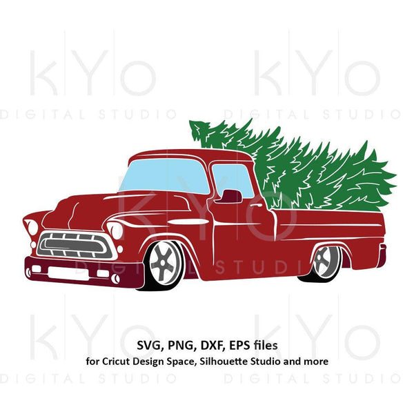 Christmas Truck svg Merry Christmas svg Red old truck svg Vintage Chevy svg chevy truck svg dxf png files for Cricut Silhouette cut files-kYoDigitalStudio