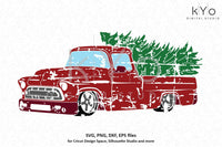 Distressed Christmas Truck svg Merry Christmas svg Red old truck svg Vintage chevy truck svg dxf png files for Cricut Silhouette cut files-kYoDigitalStudio