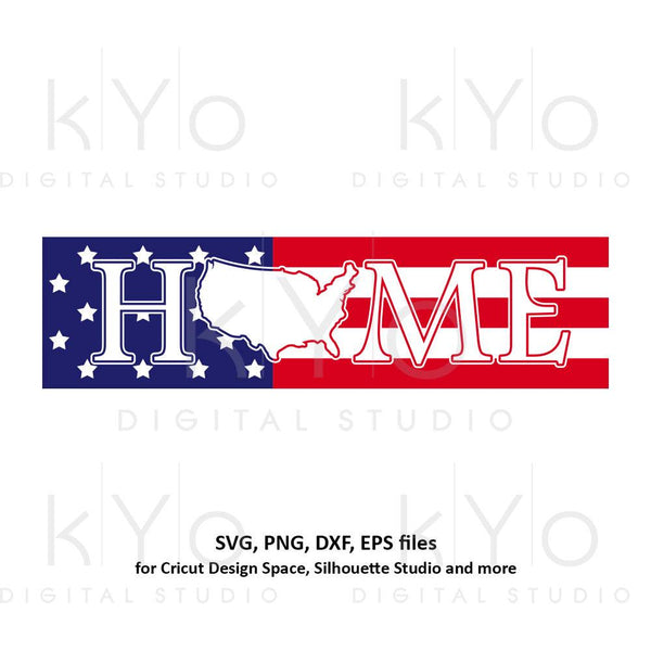 4th of July svg US American Flag svg USA Home sign svg Stars and stripes svg Home svg USA map svg png dxf files for Cricut Silhouette dxf-kYoDigitalStudio