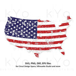 Distressed USA map svg 4th of July svg American Flag shirt svg Distressed svg Stars and stripes svg png dxf files for Cricut Silhouette dxf-kYoDigitalStudio