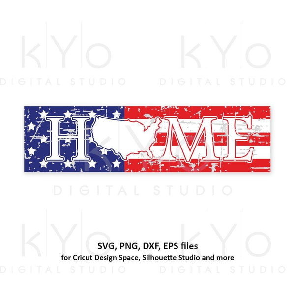 Distressed USA Home sign svg 4th of July svg American Flag svg Stars and stripes svg Home svg USA svg png dxf files for Cricut Silhouette-kYoDigitalStudio