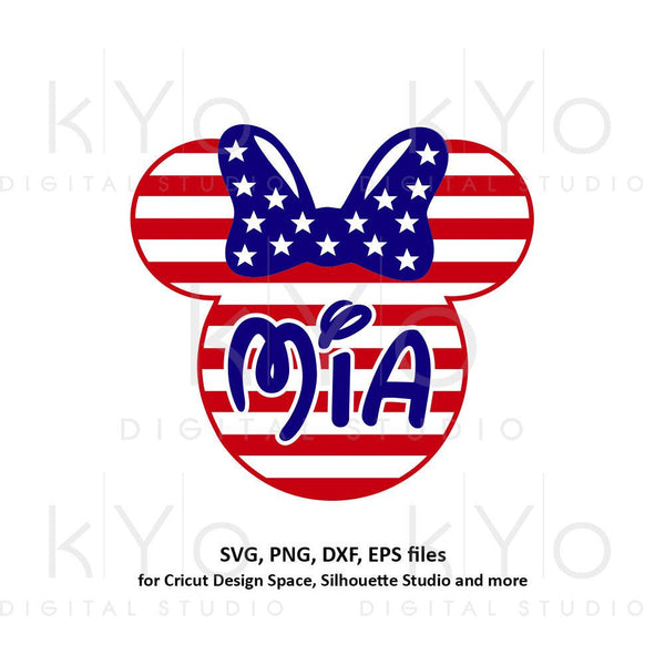 Mia svg 4th of July SVG American flag Minnie Mouse Ears SVG Custom svg png dxf dxf files for Cricut and Silhouette-kYoDigitalStudio