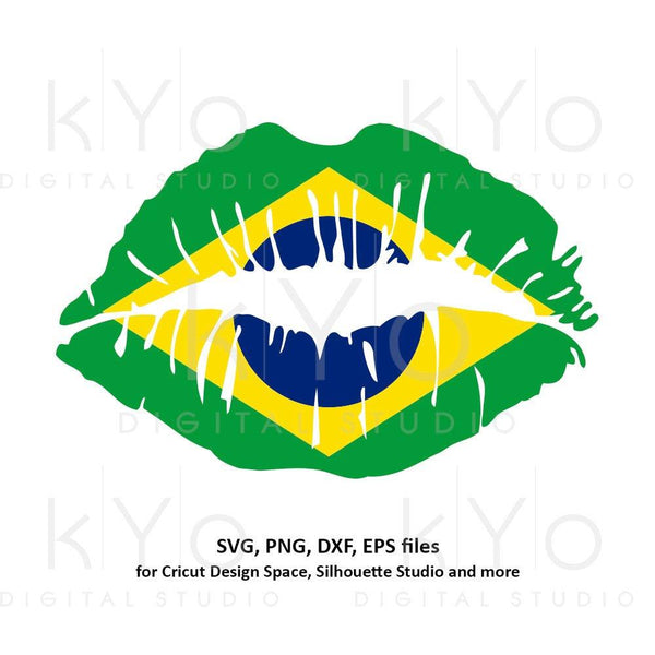 Brazil flag Girl Lips svg Brazilian flag lips svg Brasil flag lips svg files for Cricut Silhouette png Clipart Vector dxf Cutting file-kYoDigitalStudio