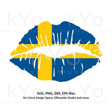 Sweden flag Girl Lips svg Swedish flag shirt svg Sverige Svenska girl shirt design svg files for Cricut Silhouette png Clipart dxf files-kYoDigitalStudio