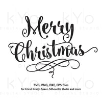 Merry Christmas svg Hand lettering Christmas svg Hand written Merry Christmas card svg files for Cricut and Silhouette dxf files-kYoDigitalStudio