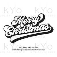 Merry Christmas banner svg Brush lettering Christmas party svg Merry Christmas card svg files for Cricut and Silhouette dxf files-kYoDigitalStudio