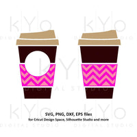 Coffee cup svg Travel mug take out cup Chevron coffee mug Paper cup svg Coffee monogram svg dxf png clipart files for Cricut Silhouette-kYoDigitalStudio