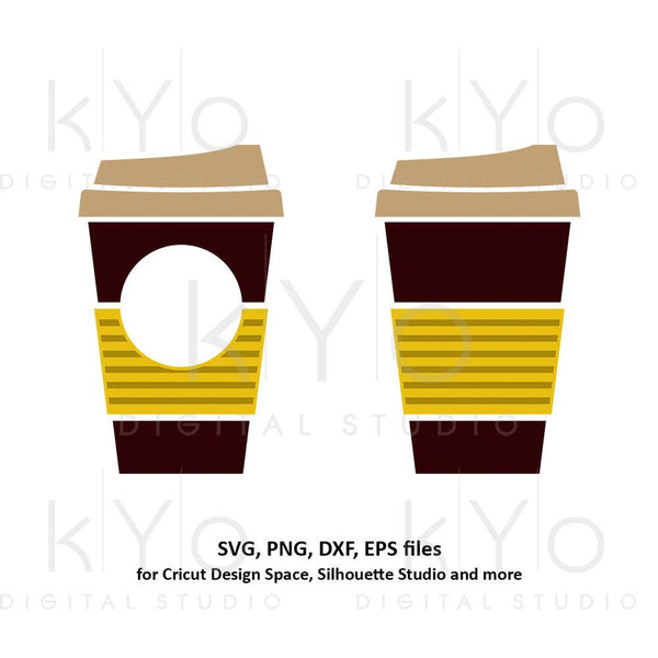 Coffee cup svg Travel mug take out cup Stripes coffee mug Paper cup svg Coffee monogram svg dxf png clipart files for Cricut Silhouette-kYoDigitalStudio