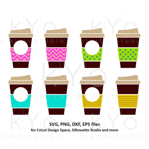 Coffee cups svg Take out cup svg Travel mug svg Chevron Polka dot Coffee Paper cup monogram svg dxf png clipart files for Cricut Silhouette-kYoDigitalStudio